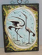 STUNNING VINTAGE RUSSIAN COPPER ENAMEL FRAMED STORK BIRD PICTURE 26.5 cm HIGH
