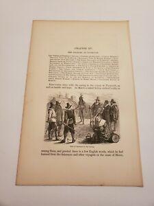 Visit of Samoset to Plymouth Colony Massachusetts c. 1876 Engraving / Print