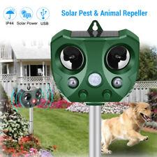 Solar Powered Animal Pest Repeller Ultrasonic LED PIR Motion Sensor Drive away