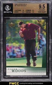 2001 Upper Deck Golf Tiger Woods ROOKIE RC #1 BGS 9.5 GEM MINT