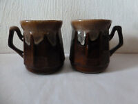 Tan Brown Dripglaze Coffee /Tea Mugs  SET OF 2