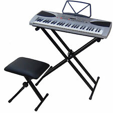 54 Keys Light LCD Teaching Keyboard DynaSun 2069 Key Lighted Support Piano Bench
