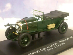 IXO 1/43 BENTLEY SPORT 3L 3 LITRE #3 WINNER LE MANS 1927 DAVIS/BENJAFIELD LM1927