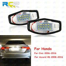 4D 2008-2016 Led License Number Tail Plate Frame Light For Honda Civic Accord x2