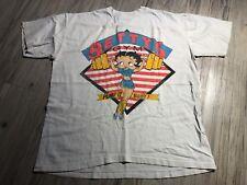 Vintage Betty's Boop GYM Pump It Baby! Tshirt TEE White United Stars J.G. XLARGE