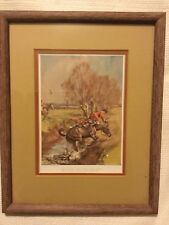 Vintage Fox Hunting horse Print Framed Double Matted