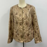 Chicos Womans brown/tan multi full zip Linen Blend jacket/blazer Size Medium 1