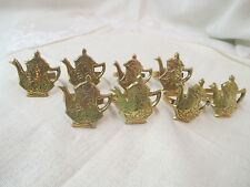 Vintage India 8 brass Napkin Rings Teapots