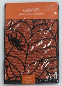 Halloween Black Lace Spider Tablecloth With Orange Vinyl Liner 52 x 70 Oblong