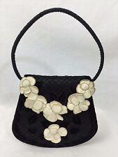 Chanel Silk / Net Overlay Velvet Leaves & Kid Leather Blooms Cocktail Bag