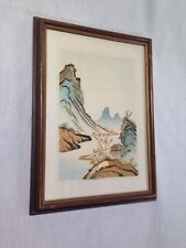 Antique oriental, marquertry landscape, on fabric. (Wood Slice Mosaic)