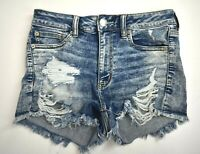 American Eagle Outfitters Womens Distressed Next Level Stretch Denim Shorts 6