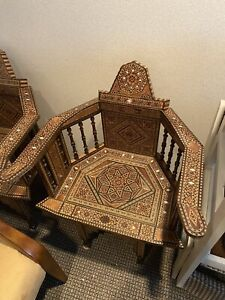 Syrian Moroccan Mosaic Chairs Mother Of Pearl Inlay  - Pair