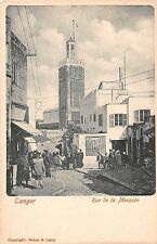 Africa postcard Morocco, Tangier Tanger Rue de la Mosquee pre-1907 street scene