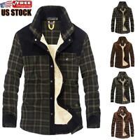 Men's Winter Warm Jacket Plaid Check Fur Line Parka Thick Fleece Coat Outwear