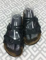 Womens Birkenstock Granada Black Leather Sandals Strappy Slide Sandals 38 7 7.5