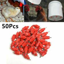 50Pcs Chicken Feeder Water Nipple Drinker Duck Poultry 360° Screw in Style