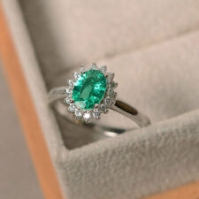 1.80 Ct Oval Cut Emerald Diamond Wedding Ring 925 Sterling Silver Size M N P