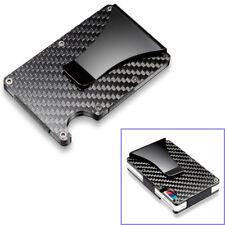 Black Carbon Fiber Slim Bank Debit Card Holder Money Clip Business Wallet Purse
