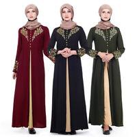Women's Arab Floral Printed Abaya Muslim Long Maxi DressRobe Islamic Jilbab Robe