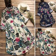 ZANZEA Women Boho Floral Long Sleeve Tunic Tops Casual Blouse Long Shirt Dress