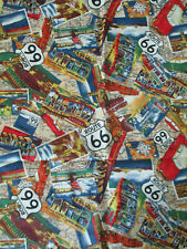 RETRO ROUTE 66 HISTORICAL MAP SIGNS STATES CARS MORE COTTON FABRIC FQ
