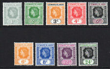 Leeward Islands 9 Stamps c1954 Mounted Mint Hinged