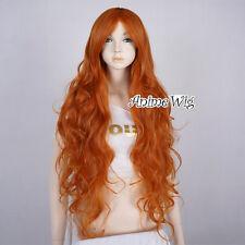 Lolita Orange Long 85CM Curly Fashion Party Women Cosplay Wig + Wig Cap
