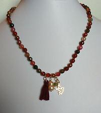 Collana agate tormalina uccellino perla rosa nappina tassel peridoto argento 925