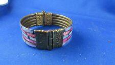 ancien bracelet en laiton et pate de verre torque decor  fantaisie