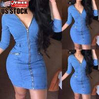 Women's V Neck Zipper Denim Mini Dress Ladies Casual Jeans Dress Bodycon Dress