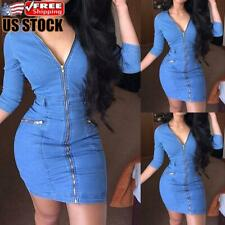 Women's V Neck Zipper Denim Mini Dress Ladies Casual Jeans Dress Bodycon Dress