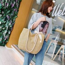 Large Bohemian Straw Handbag Women Summer Woven Casual Tote Bag Solid Color