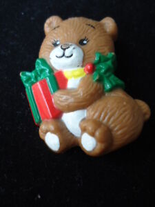 """Russ Christmas Brown Bear Pin Brooch With Package Size:  1 ½"""""""