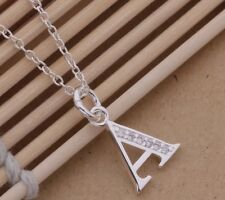 925 Sterling Silver LETTER A Austrian Crystal Pendant Charm Necklace Chain Gift