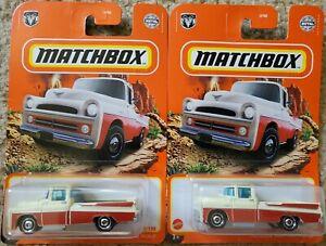 LOT OF 2- NEW 2021 MATCHBOX 1957 DODGE SWEPTSIDE PICKUP TRUCK DIECAST #2/100