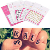 DIY English Letter Nail Art Sticker Decals Tips 3D Wrap Manicure Decor 5 Sheets