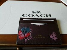 Coach Womens Brown Floral Credit Card Wallet NWT