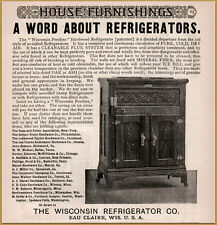 1890 b  Wisconsin Refrigerator Peerless Hardwood Mineral Wool Fiber Print Ad