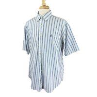 Ralph Lauren Polo Men's Blake Short Sleeve 100% Cotton Blue Stripe Shirt Large