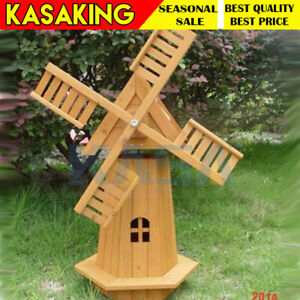 Outdoor Garden Windmill Wooden Decor Lawn Ornament Moving Blades Spinner