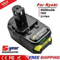 18V 4.0AH Li-Ion Replacement Battery for Ryobi ONE+ P108 P107 P104 High Capacity