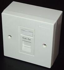 PACK 4x Cat5e RJ45 Single Face Plate & BackBox (Network Ethernet Socket)