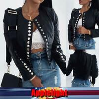 Women Punk Faux Leather Belted Jacket Fitness Motorcycle Cropped Coat Overcoat