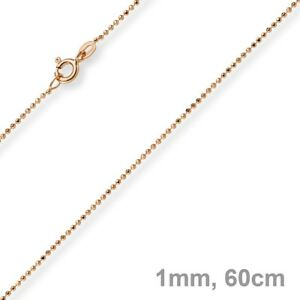 1mm Ball Necklace Diamond-Cut Gold Chain Necklace IN 750 Gold Rose Gold, 60cm