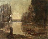 Thorvald Niss 1842-1905 Studie Personen am Fluss Frankreich? 33 x 41 Ölgemälde