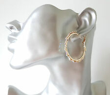 STUNNING 4cm GOLD tone & AB diamante - crystal staggered effect hoop earrings 46
