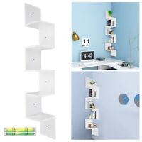 5 Tier Wall Mount Corner Shelves Home Rack Large Zig Zag Furniture Modern White
