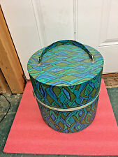 "Bs6 Vintage hat or wig box psychadelic 13"" H x 12.5"" dia Excellent condition"