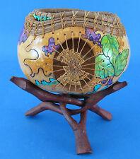 New Season Designs Decorative Gourd Bowl Pine Needle Rim Artist Signed w Stand